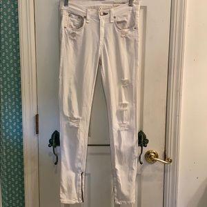 Rag & Bone White Stretchy Distressed Jeans, 29**